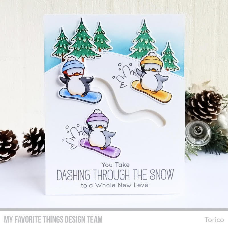 Snowboarding Penguins Card