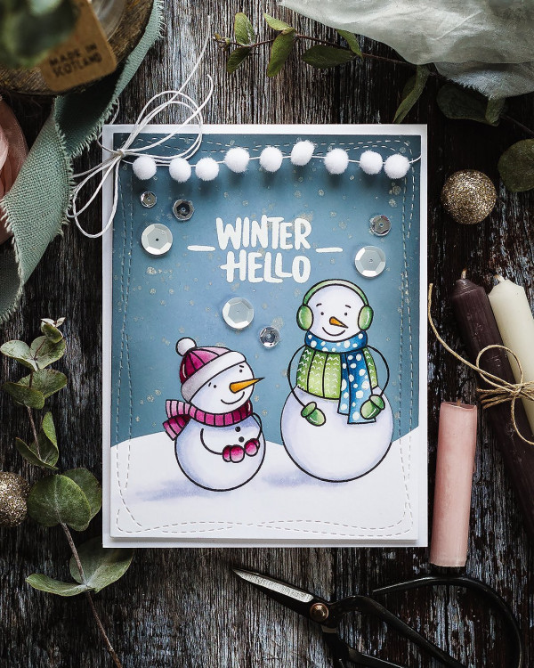 Winter Snowmen Card