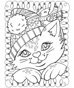 Christmas Cat Coloring Page
