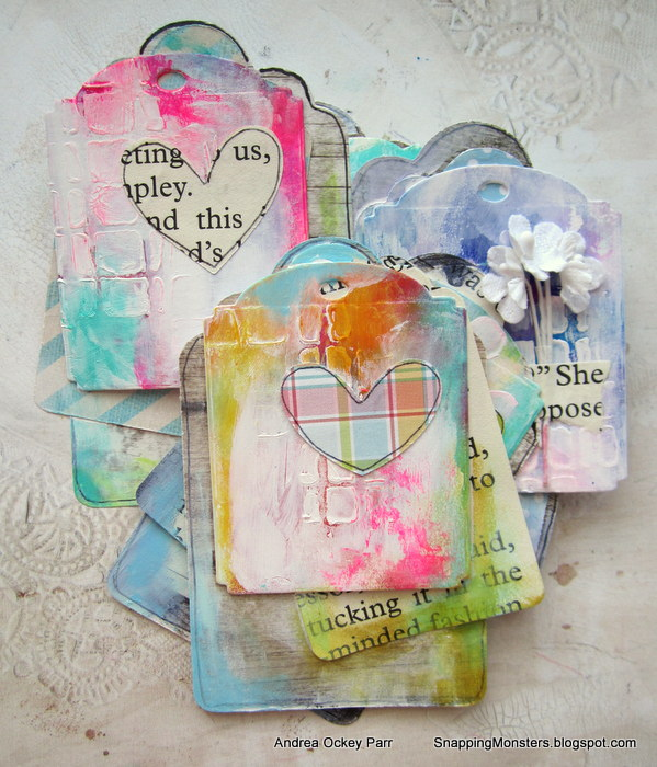 Mixed Media Gelli Printed Tags