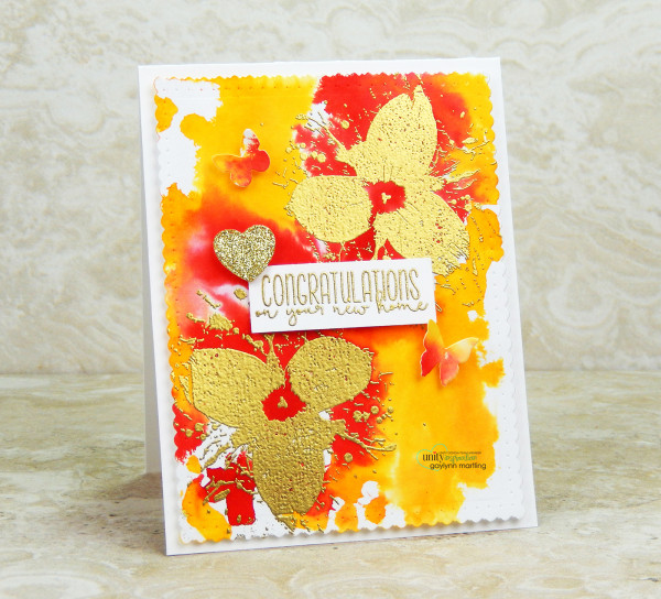 Gold Embossing with Watercolor Background