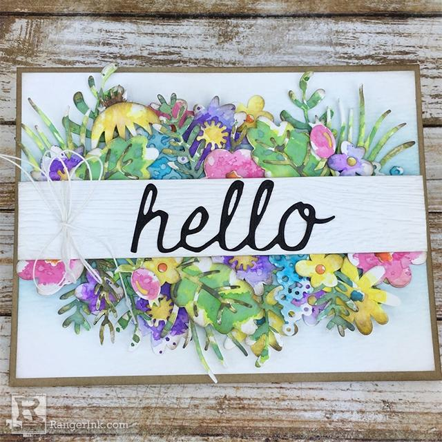 Die Cut Watercolor Floral Card