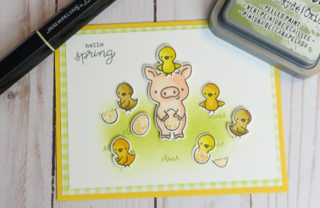 Spring Pig and Chicks Card