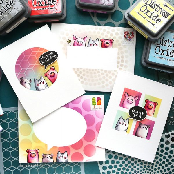 1 Stamp Set for 2 Cards and 2 Envelopes