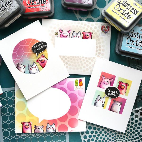 1 Stamp Set for 2 Cards and 2 Envelopes