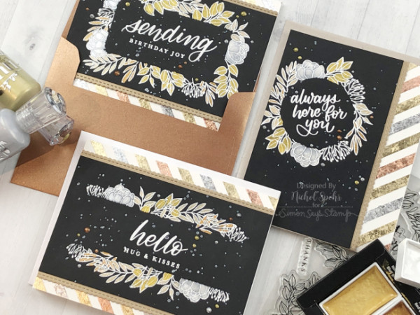 Mixed Metallics Floral Cards