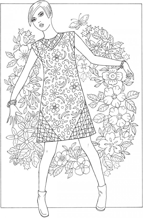 6 Coloring Pages of 60's Fashion