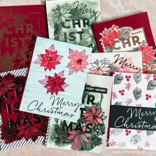 9 Christmas Cards w/ 1 Stamp Set