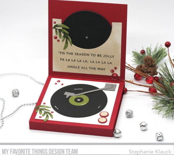 Holiday Record Player Card