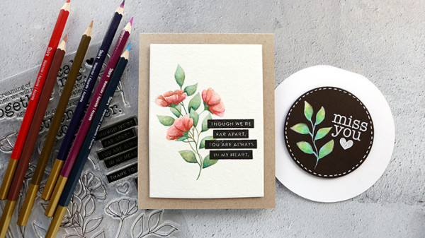 Botanical Cards with No Line Coloring Technique