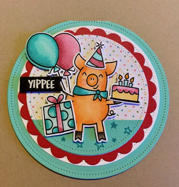 Pig Birthday Round Card