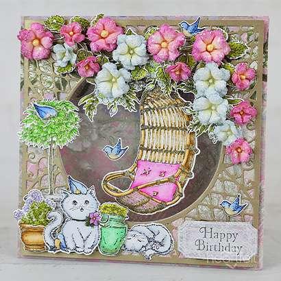 Garden Kitties Birthday Card