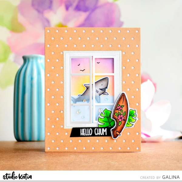 Summer Shark Window Scene Card