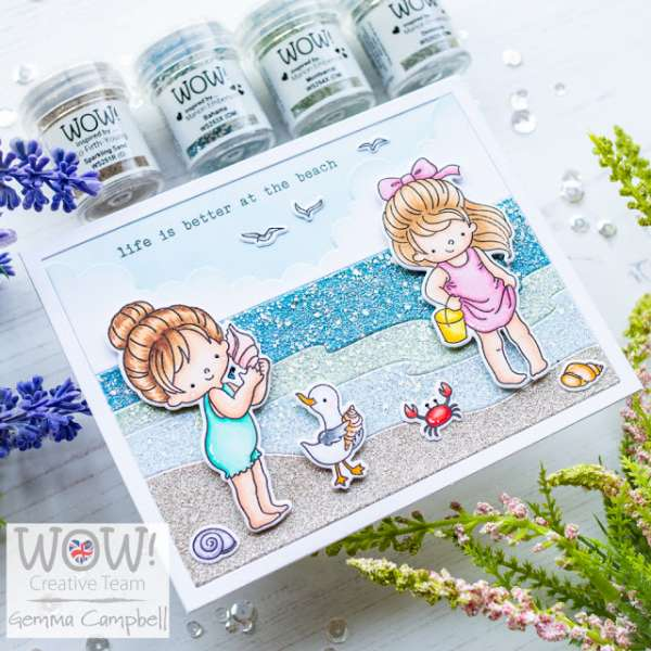 Glittery Beach Card
