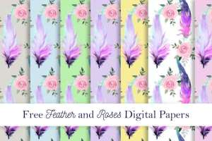 Feather and Roses Pattern Papers