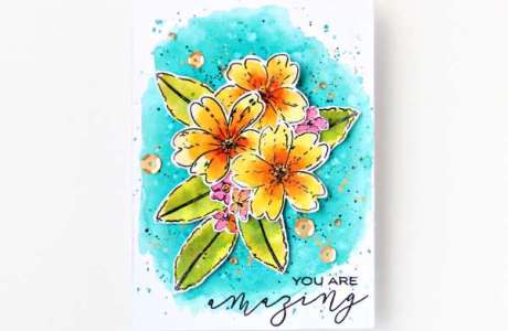 Tropical Flowers Watercolor Card