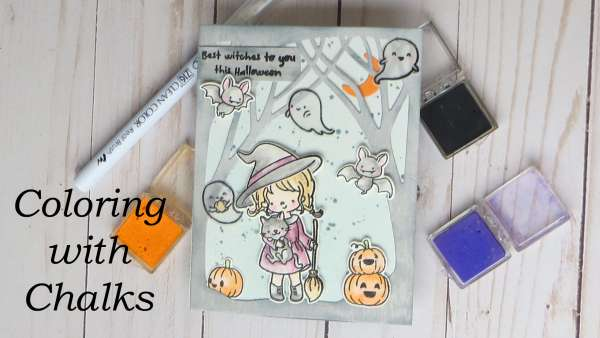 Coloring a Halloween Card with Chalks
