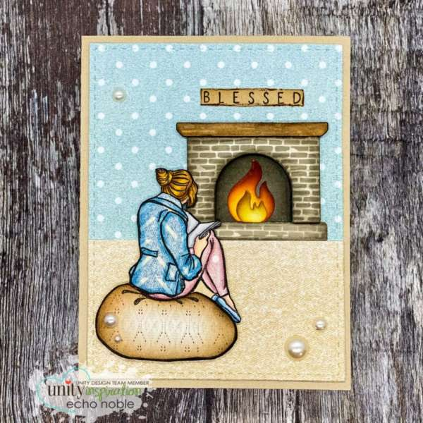 Fireplace Card with Paper Piecing