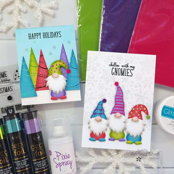 Flocked and Foiled Gnome Cards