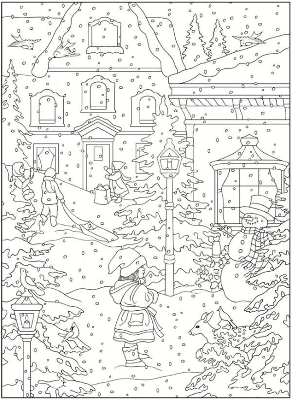 5 Free Winter Scene Christmas Coloring Pages
