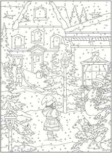 5 Winter Scene Coloring Pages