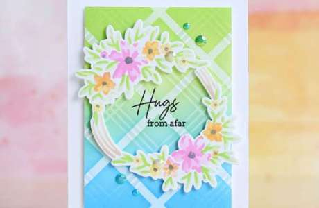 Spring Wreath Stencil Card