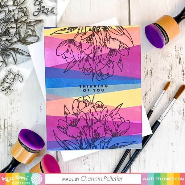 Stencil Background Floral Card