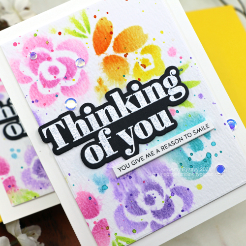 Stenciled Rainbow Floral Card