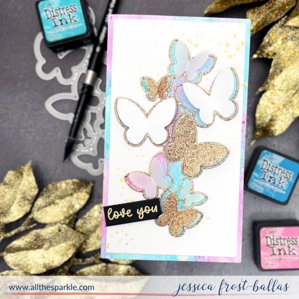 Distress Inks and Glitter Butterflies Card