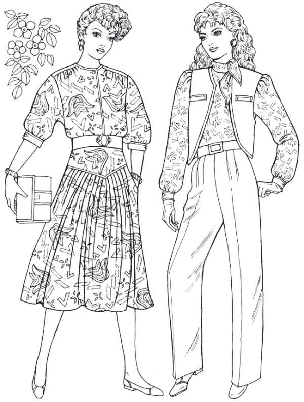 80's Fashion Coloring Pages