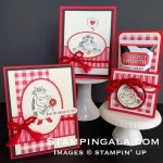 Greeting Cards and Hand Cream 3D holder for Facebook Live, Over the Moon stamp set & Toile Tidings DSP.
