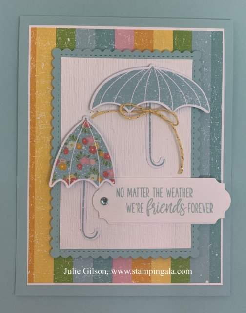 Greeting card featuring the Under My Umbrella and the Pleased as Punch DSP. #Stampin' Up, #Stampin' Gala,