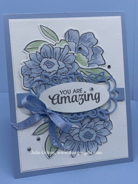 Greeting card using the Band Together Bundle. Perfect as a thank you card. #Stampin' Up, #Stampin' Gala, #Thank you, #Heat Embossing
