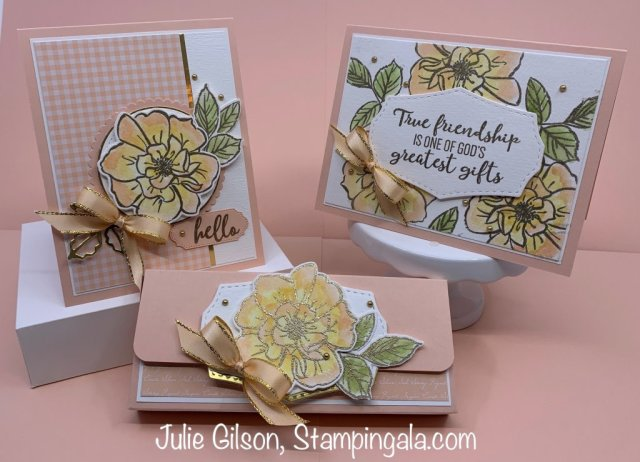 Cards and a treat holder created using To a Wild Rose stamp set. #Thinking of You, #Stampin' Up, #Stampin' Gala, #Get Well, #SAB