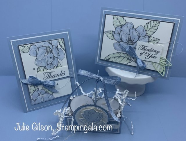 Good Morning Magnolia  cards and treat holder for Facebook Live.  #Stampin' Up, #Stampin' Gala, #Heat Embossing, #Thinking of You, #Thank You