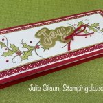 Slimline Christmas Card created with the Joyful Holly Stamp Set and the Joy Dies. #Stampin