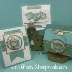 Coffee themed greeting cards and a k-cup treat holder created with the Press on stamp set. #Stampin