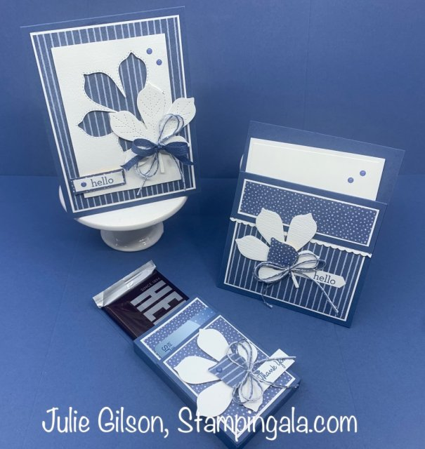 Love of Leaves greeting cards and treat holder/gift card holder.  #Stampin' Up, #Stampin' Gala, #Stitched Leaves
