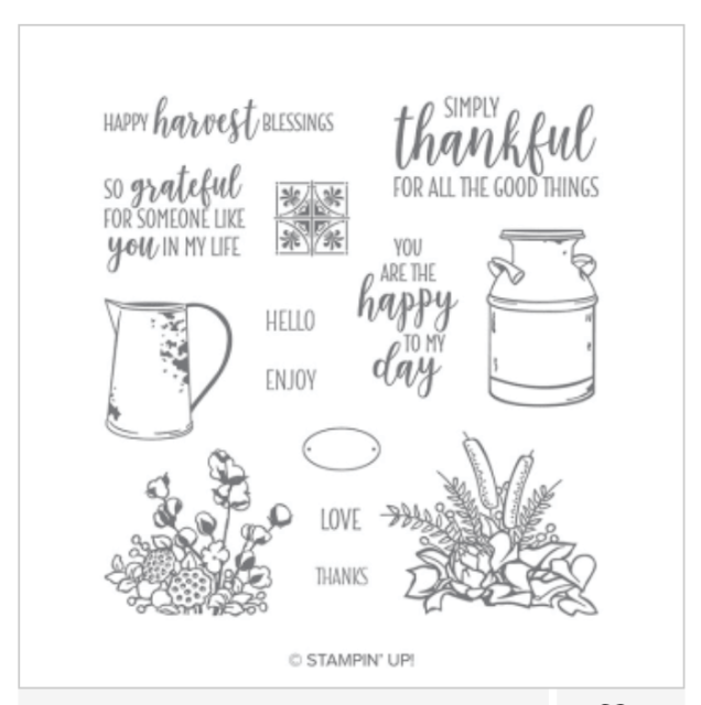 Thankful card featuring the Country Home stamp set.  #Stampin' Up, #Stampin' Gala, #Julie Gilson, #Fall, #Autumn, #Handmade cards