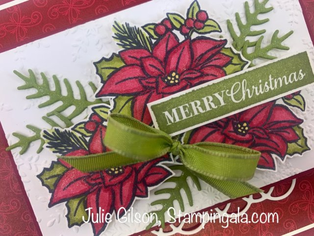 Christmas card created with Stampin' Up's! Four Season Floral stamp set and Stampin' Blends Markers.  #Stampin' Up, #Stampin' Gala, #Julie Gilson, #Handmade Cards, #Christmas Crafts