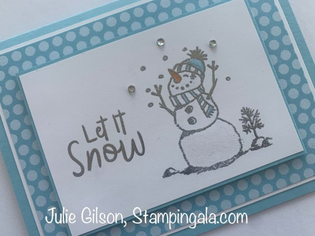 Christmas card created with Stampin' Up's Snowman Season stamp set for Simple Sunday. #Stampin' Up, #Stampin' Gala, #Handmade Cards, #Snowman