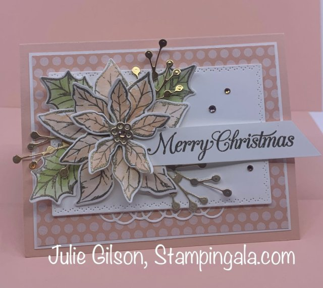 Christmas card created with Stampin' Up's Poinsettia Petals Bundle.  #Stampin' Up, #Stampin' Gala, #Handmade Cards, #Christmas Crafts