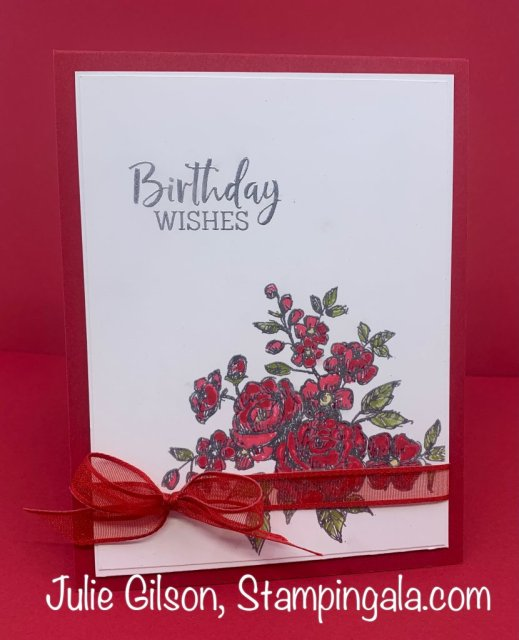Birthday Card created with Stampin' Up's Fancy Phrases Stamp Set.  #Stampin' Up, #Stampin' Gala, #Birthday Card, #Handmade Cards, #Heat Embossed, #Alcohol Markers
