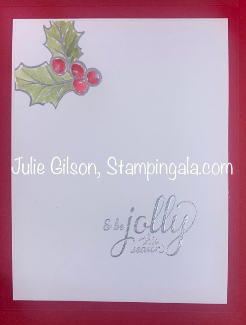 Christmas Card created with Stampin' Up's Christmas Gleaming stamp Set for Simple Sunday. #Stampin' Up, #Stampin' Gala, #Watercoloring, #Heat Embossing, #Christmas Crafts, #Handmade card