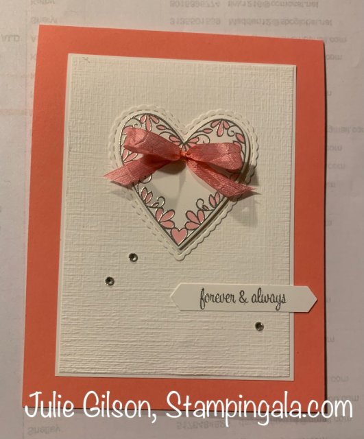 Valentine' Day card created with Stampin' Up's Meant to Be stamp set.  #Stampin' Up, #Stampin' Gala, #Valentine's Day, #Valentine Card, #DIY Crafts