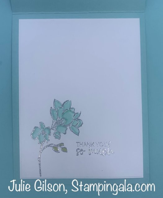 Thank you card created with Stampin' Up's A Touch of Ink Stamp Set.  #Stampin' Up, #Stampin' Gala, #Thank you card, #Sale-a-Bration, #A Touch of Ink