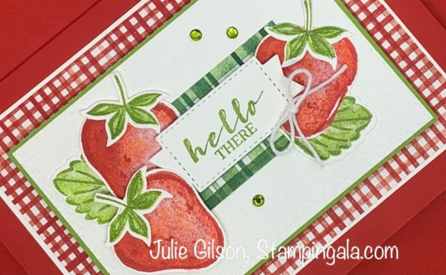 Greeting card created with Stampin' Up's! Sweet Strawberry Bundle. #Stampin' Up, #Stampin' Gala, #Sweet Strawberry, #Handmade Card, #Sale-a-bration