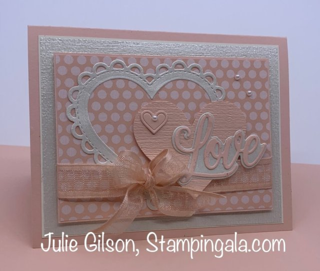 Valentine card created with Stampin' Up's Forever & Always stamp set. #Stampin Up, #Stampin Gala, #Valentine Card, #Many Hearts Dies, #Floral Hearts Dies
