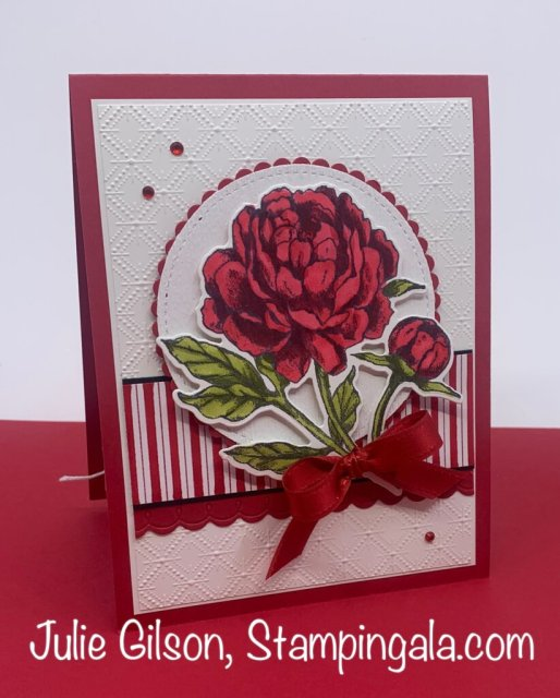 Greeting card created with Stampin' Up's Prized Peony Bundle. #Stampin' Gala, #Birthday, #Handmade cards, #Makeover Monday
