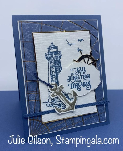 Greeting Card created with the Sailing Home stamp set and Smooth Sailing Dies. #Stampin' Up, #Stampin' Gala, #Masculine Card, #Handmade Cards, #Graduation Cards